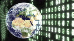 Earth with binary code and electronic numbers, loops. Stock Footage