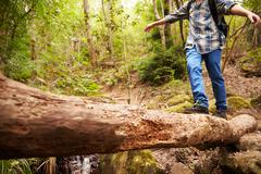 Boy balancing on a fallen tree to cross a stream in a forest - stock photo