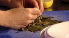 Vine Leaf Rolls Stock Footage