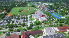 Aerial video Barry University sports fields Stock Footage