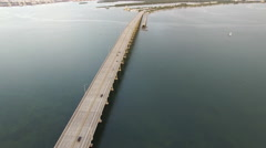Aerial video of the Rickenbacker Causeway 4 Stock Footage