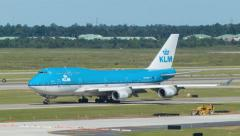 KLM Boeing 747 Taxiing in Houston at IAH Airport Stock Footage