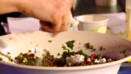 Stock Video Footage of Put cheese in a salad of lentils