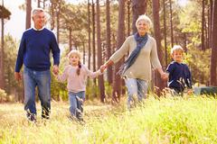 Grandparents and grandchildren walking in the countryside Stock Photos