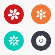 Vector modern flower colorful icons set Stock Illustration