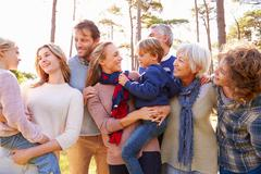 Happy multi-generation family in the countryside Stock Photos
