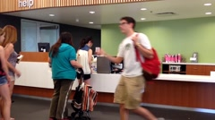 One side of information desk of library Stock Footage