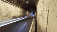 Timelapse of tunnel at night with traffic. Amalfi, Italy. Stock Footage
