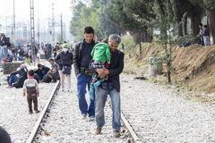 Idomeni, Greece - September 24 , 2015: Hundreds of immigrants are in a wait a - stock photo