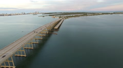 Aerial video of the Rickenbacker Causeway 5 Stock Footage