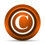 Copyright icon. Internet button on white background.. - stock illustration