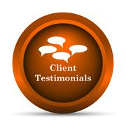 Stock Illustration of Client testimonials icon. Internet button on white background..