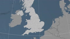 Kent - county of England extruded. Bumps Stock Footage