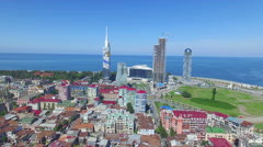 Aerial view of Batumi from flying drone Stock Footage