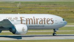 Emirates Boeing 777 Close-up Taxiing in Houston TX Stock Footage