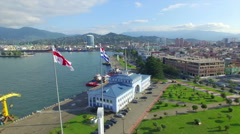 Aerial view of seaport of Batumi Stock Footage