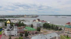 Stock Video Footage of Confluence of the Volga and the Oka. Nizhny Novgorod. Russia