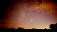 Milky Way Stars in Light Pollution Stock Footage
