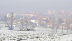 Fog over town of Zajecar filmed from park hill Kraljevica 4K 3840X2160 UHD  Stock Footage