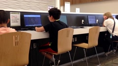 Stock Video Footage of Children playing game inside library