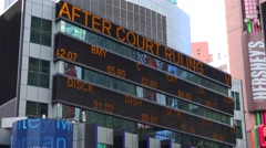 Stock exchange Forex quotes on the Times Square LED panel (Forex news). Stock Footage