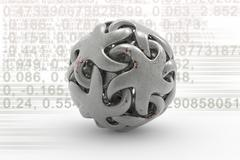Sphere on a background of numbers - stock illustration
