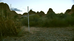 cross christian in desert dry land - stock footage