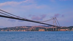 Istanbul asian side  bosphorus  bridge seen from the sea Stock Footage