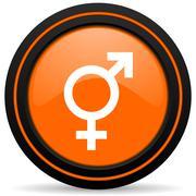 sex orange glossy web icon on white background - stock illustration
