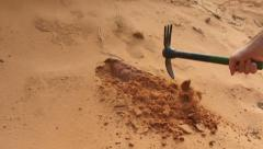 Digging in sand slow motion Stock Footage