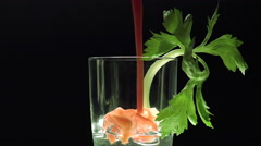Bloody Mary pouring in a glass Stock Footage