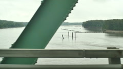 Fallen bridge sunken Stock Footage