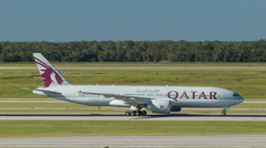 Qatar Airways Boeing 777 Taxiing in Houston Texas Stock Footage