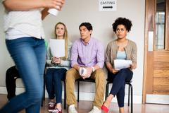 Students at a casting call for a play Stock Photos