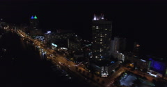 Aerial Miami Beach at night 6 Stock Footage