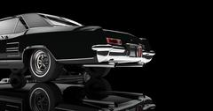 Old Car Tail On Black Background - stock illustration