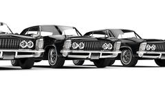 Stock Illustration of Row Of Classic American Cars Close