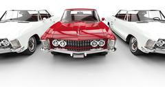 White And Red Classic American Cars Stock Illustration