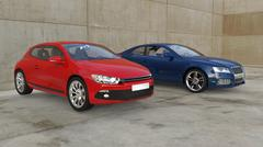 Red And Blue Cars Outside - stock illustration