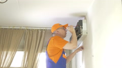 Stock Video Footage of Service man to clean air conditioner