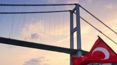 istanbul bosphorus bridge at the sunset - stock footage