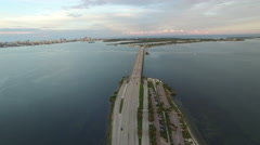 Aerial video of the Rickenbacker Causeway 3 Stock Footage