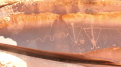 Native american drawings on rock west america Stock Footage