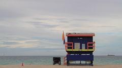 Miami Kiosko,Vigilance tower lifeguard kiosk - stock footage