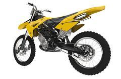 Yellow Dirt Bike - Back View - stock illustration