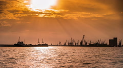 Port Industrial Scene with Sunset Clouds Timelapse - stock footage