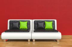 Red Lounge Room Stock Illustration