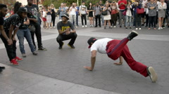 African-American man breakdancing in Washington Square Park in 4K NYC Stock Footage