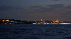 Stock Video Footage of istanbul cityscape riverfront as seen from bosphorus sea
