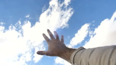 Stock Video Footage of reaching for sky reach clouds